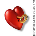 Red shiny heart with keyhole and golden key. 29109470