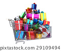 Supermarket trolley full of many multicolored gifts. 29109494