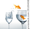 Gold fish smiling jumping from a glass of water, to a larger one, where another fish is waiting. 29109498