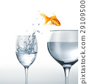 Gold fish jumping from a glass of water, to a larger one. 29109500