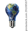 Light bulb with planet Earth in place of glass. Amaricas view. 29109507