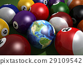 Poll table with balls and one of them as Earth. 29109542
