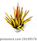 Group of many yellow pencils into a bin, with one red pencil standing out. 29109578