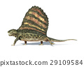 Dimetrodon dinosaur. Viewed from a side, On white background with dropped shadow and clipping path. 29109584