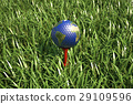Golf ball on tee in the grass, with earth planet map. 29109596