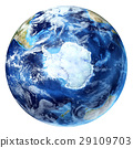 Earth globe, realistic 3 D rendering, with some clouds. Antarctic (south pole) view. 29109703