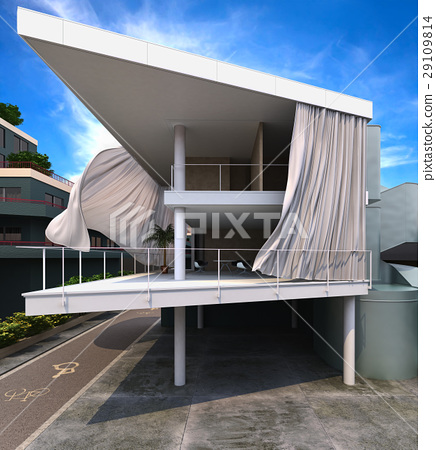 Modern house exterior with curtains blowing in the wind. 29109814