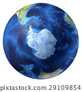 Earth globe, realistic 3 D rendering. Antarctic (south pole) view. 29109854