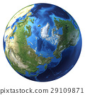 Earth globe, realistic 3 D rendering. Arctic view (North pole). 29109871