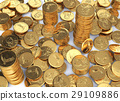 Gold dollar coins spread on a white surface and few stacks. 29109886