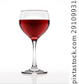 Red wine glass, on white surface and background, viewed from a side. 29109931