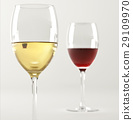 Two glasses of wine, one white and one red. 29109970