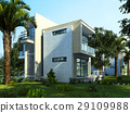 Modern building exterior with garden and trees. 29109988