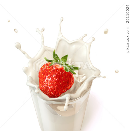Strawberry falling into a glass of milk creating a splash. 29110024
