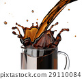Pouring coffee splashing into a glass mug. 29110084