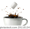 Sugar cube falling and splashing into a cup of black coffee. Close up view. 29110134