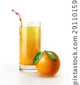 Orange juice glass with straw and a fruit on the floor. 29110159