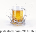 Mug of beer splashing on a water surface. 29110163