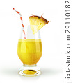 Pineapple drink glass, with a fruit chunk and straw. 29110182