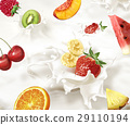 Various fruits falling into a sea of milk, causing splashes. 29110194