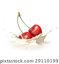 Two red cherries falling into milk splashing. 29110199