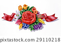 Flowers, different species and multicolor composition, with red ribbon, on white background. 29110218