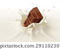Chocolate block falling into milk splashing. 29110230
