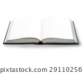 Open book with empty blank pages, viewed by bird eye perspective. 29110256