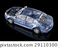 Generic sedan car detailed cutaway representation, with ghost effect, on black backgound. 29110300