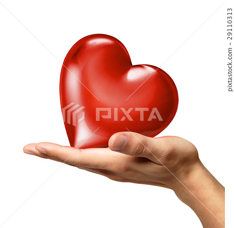 Man's hand holding a heart on palm, viewed from a side. 29110313