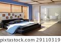modern luxury bedroom with bathroom 29110319