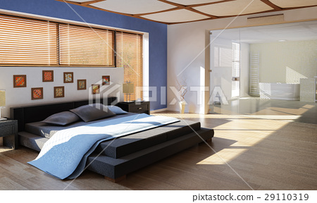 modern luxury bedroom with bathroom 29110319