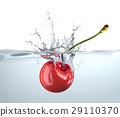 Red cherry falling into water and splashing. 29110370
