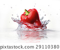 Red sweet bell pepper falling and splashing into clear water. 29110380