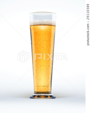 Tall glass of beer on white background. 29110389