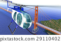 Helicopter flying over the Golden Gate bridge. Brid eye view with blue sea. 29110402