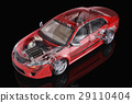 Generic sedan car detailed cutaway representation, with ghost effect, on black backgound. 29110404