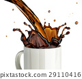 Pouring coffee splashing into a glass mug. 29110416