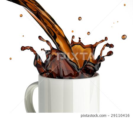 Pouring coffee splashing into a glass mug. 29110416