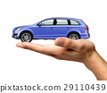 Human hand with a car on the palm. 29110439