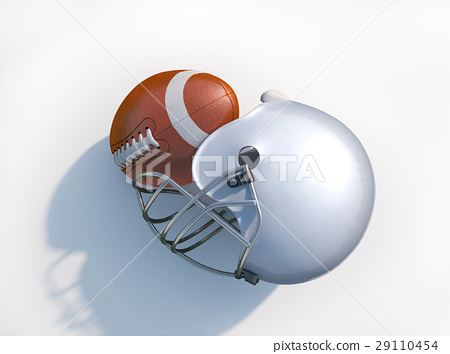 American football helmet with ball isolated. 29110454