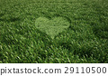 Grass meadow, bird eye view, with a heart shape cut grass in the middle. 29110500