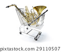 Supermarket trolley, full of wind musical instruments. 29110507