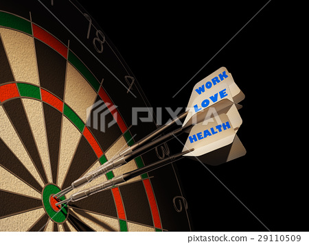 Dartboard with three darts in center target. 29110509