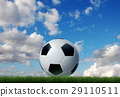 Football/soccer classic ball, on grass, with sky on the background. 29110511