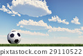 Soccer/football ball close up on grass lawn. Panoramic format. 29110522