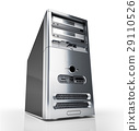 PC tower desktop. Silver on white background. 29110526