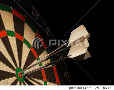 Dartboard with three darts in center target. 29110547