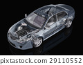Generic sedan car detailed cutaway representation, with ghost effect, on black backgound. 29110552