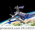 Space station in orbit around Earth. 29110555